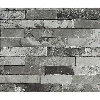 Grey Brick Effect Wallpaper Rasch Slate Black Vinyl Paste the Wall