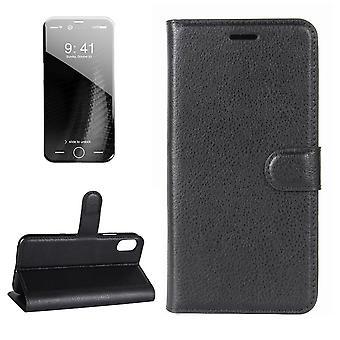 Für iPhone XS, X Brieftasche Fall, Styled Lychee Flip Schutzleder-Abdeckung, schwarz