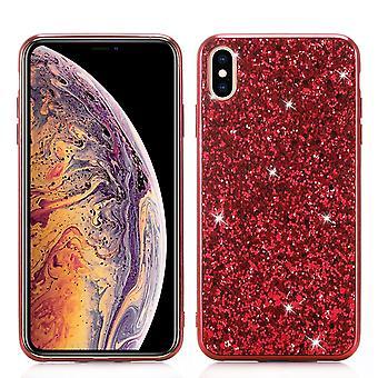 Per iPhone XR Custodia Rossa Glitter Polvere Coperchio, Corpo flessibile