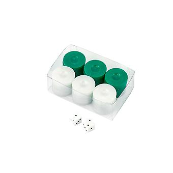 Value Backgammon Stones in Green & White with Dice 26mm