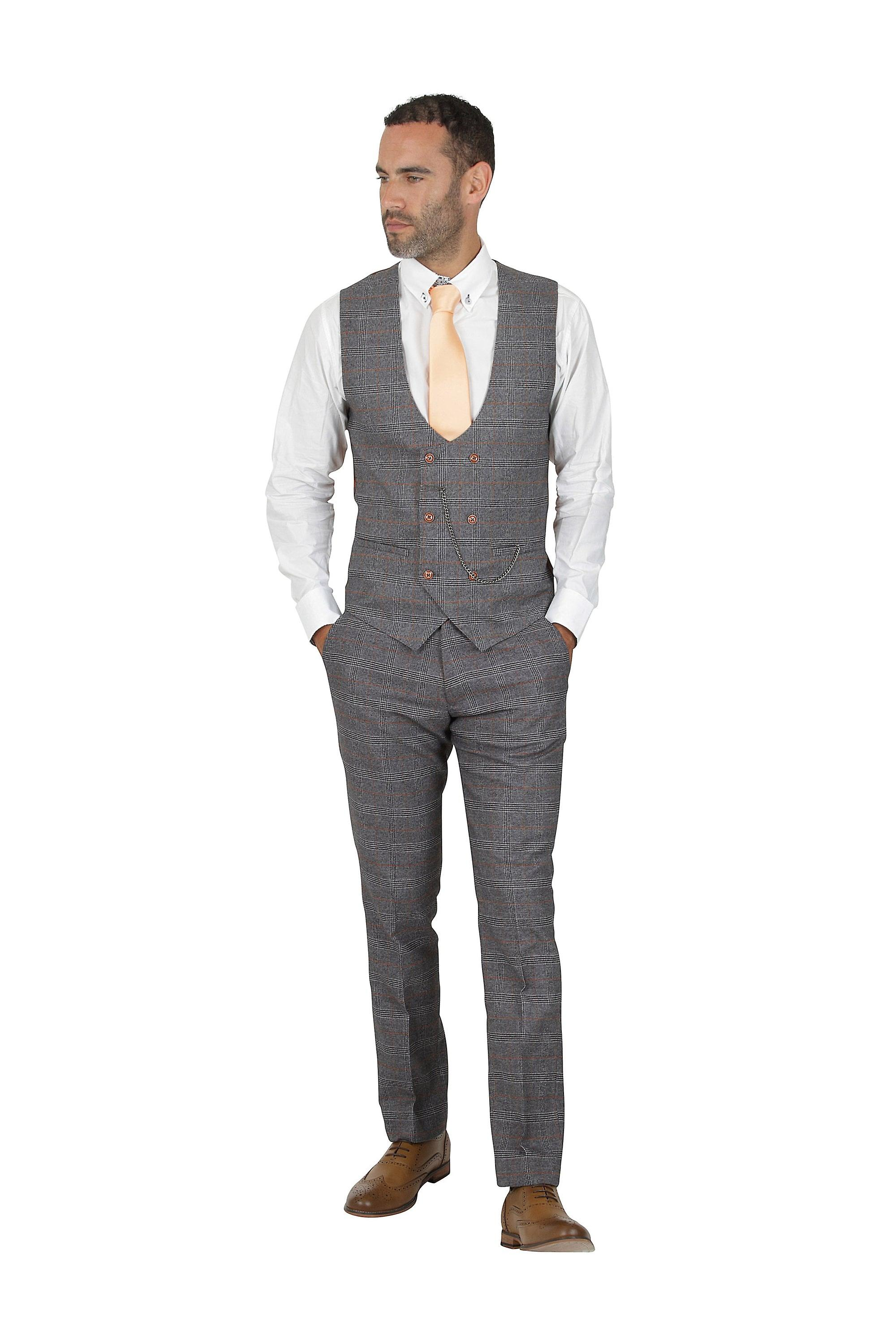 Marc Darcy Jenson Grey Tan Check Suit Double Breasted Waistcoat