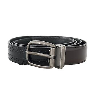 Dolce & Gabbana Black Brown Perforated Leather Belt