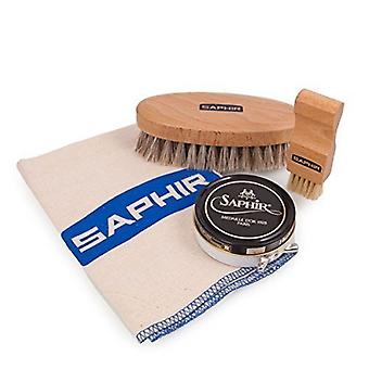 Saphir Light Wood Flat Applicator brush + Saphir MDO Black Cream Polish. Set D+Cloth