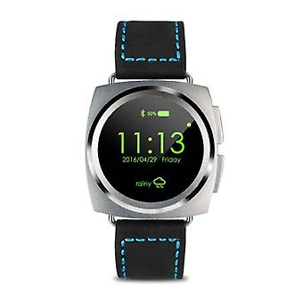 Stuff Certified® Original A11 Smartwatch Smartphone Fitness Sport Activity Tracker Watch OLED Android iOS iPhone Samsung Huawei Silver Leather