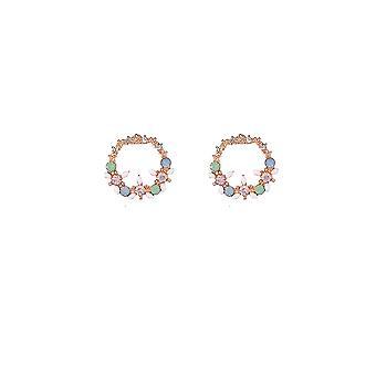 Gem and Crystal Gold Stud Hoop Earrings