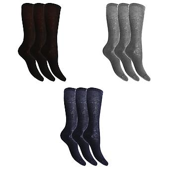 Childrens flickor bomull rika strumpor knä höga med elastan (förpackning med 3)