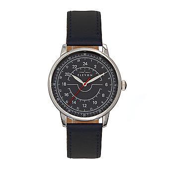 Elevon Gauge Leather-Band Watch - Silver/Navy