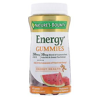 Nature's bounty energy gummies, melancia aromatizada, 60 ea