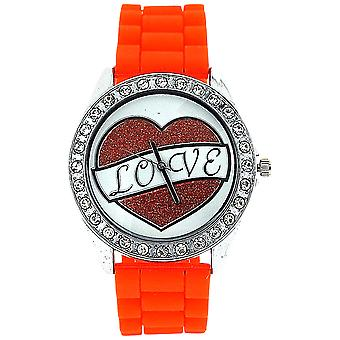Ashley Love Glitter Heart Diamante Dial Orange Rubber Strap Ladies Watch