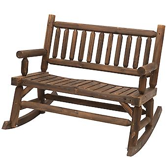 Outsunny Garden 2-Seater Rocking Bench Wood Frame Rough-Cut Log Loveseat Slatted High Back Rustic Style w/ Armrests Garden Outdoor Balcony Patio Furniture - Dark Stain Brown