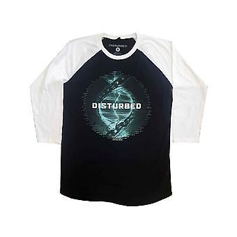 Disturbed Baseball T Shirt Binary Evolution Tour Official Mens Black 3/4 Sleeve