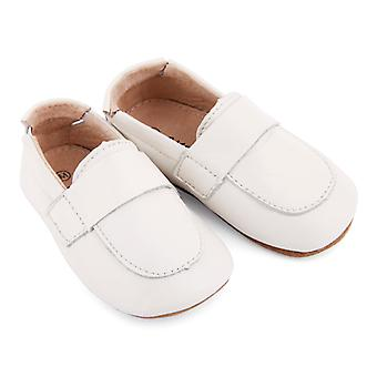SKEANIE Leather Pre-Walker Loafers Shoes in White