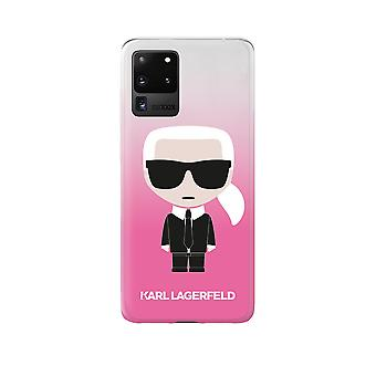 KARL LAGERFELD Iconic Boss Silicone Backcover Hoesje Samsung Galaxy S20 Ultra - Roze Transparant