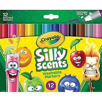 Crayola Silly Scents Cuña Tip Marcadores Lavables-Colores Surtidos 12/Pkg