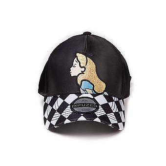 Official Disney Alice In Wonderland Curved Bill Cap with Ribbon Fastening