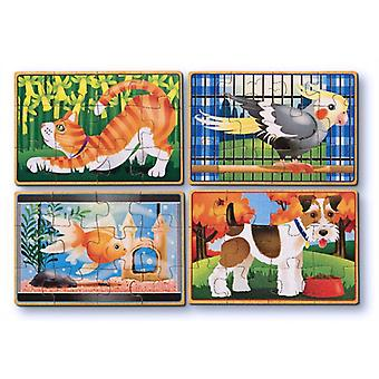 Melissa & Doug 4 Wooden Pet Jigsaws in a box Age 3+