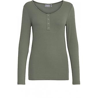 b.young Sea Green Ribbed Jersey Top