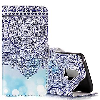 Voor Samsung Galaxy S9 Wallet Case Leather Blue Totem Flower Pattern