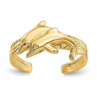 14k Ouro Amarelo Polonês Dolphin Toe Ring Joias para Mulheres - 1,6 Gramas