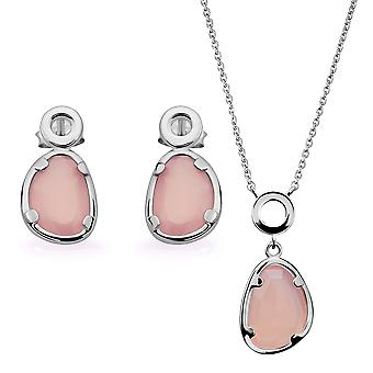 Orphelia Silver 925 Pendant and chain 45cm-Drop Earring with Pink Chalcedony Stone