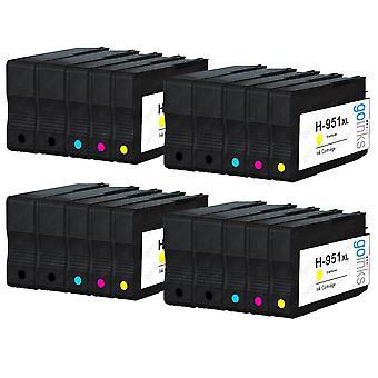 4 set compatibili di 4 cartucce di inchiostro per stampante extra-nero 950 e 951 (HP 950XL & 951XL)