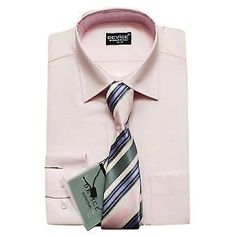 Men Pink Shirt and Tie Set