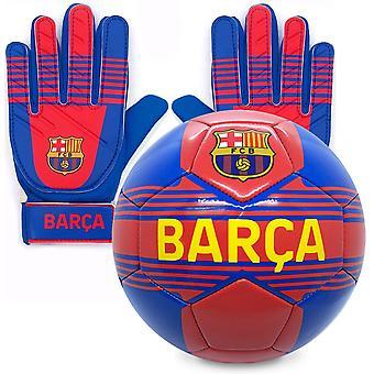 FC Barcelona Virallinen Junior Lahjasetti Koko 4 Jalkapallo & Maalivahti Maalivahti Käsineet