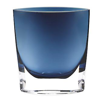"""8"""" Mouth Blown Glass European Made Midnight Blue Pocket Shaped Vase"""