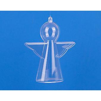 4 Clear Two-Part Christmas Angel 100mm Ornements en plastique Fillable Bauble