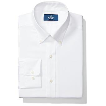 "BUTTONED DOWN Men's Classic Fit Button-Collar Solid Non-Iron Dress Shirt (No Pocket), White, 17"" Neck 37"" Sleeve"
