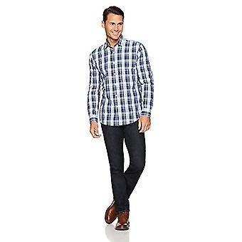 Essentials Men's Regular-Fit Langærmet Casual Poplin Shirt, Blå/Whi...