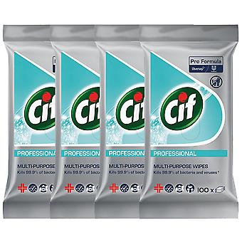 4 x 100 Wipes Cif Multipurpose Kitchen Bathroom Cleaner Fast Acting