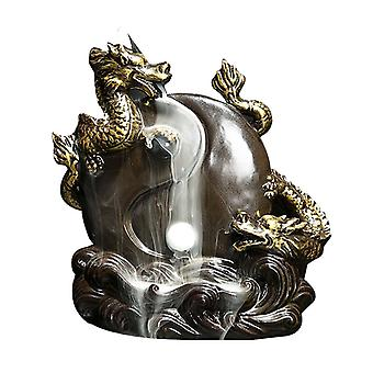 Retro Handmade Dragon Porcelain Backflow Incense Holder For Home Decoration With 50 pcs Backflow incense cones for free