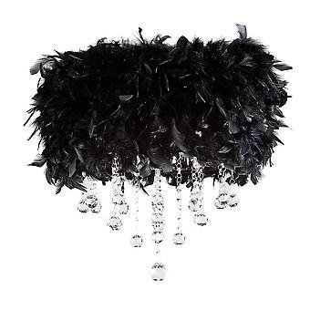 Plafond flush avec black feather shade 3 Chrome poli léger, cristal