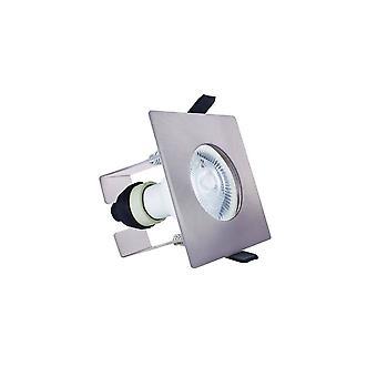 LED Fire Rated Static Downlight Recessed Spotlight Square GU10 Holder Bracket Satin Nickel IP65