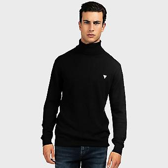 Guess Turtle Neck Wool Blend Sweater - Jet Black