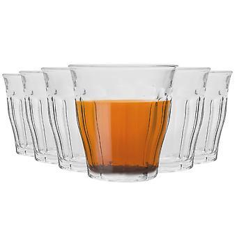 Duralex Picardie Drinking Glasses - 130ml Tumblers for Water, Juice - Pack of 6