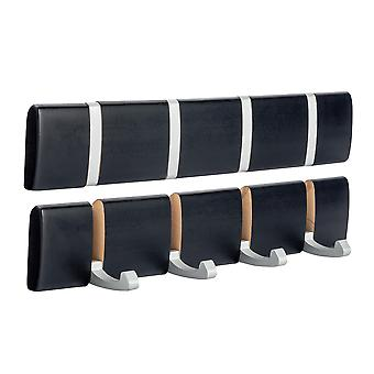 Wooden Wall Mount Coat Rack - 4 Foldaway Metal Hooks - Black - Pack of 2