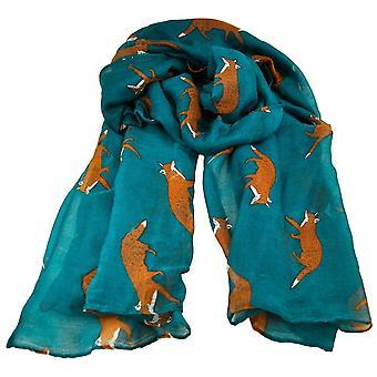 Ties Planet Fox Animal Print Petrol Blue Lightweight Women's Shawl Scarf