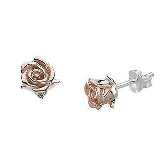 Dew Sterling Silver Rose Gold Plate English Rose Stud Earrings 4631RG021