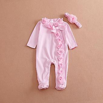 Neugeborenes Baby Langarm Strampler, dreidimensionale Blume Body Kleidung