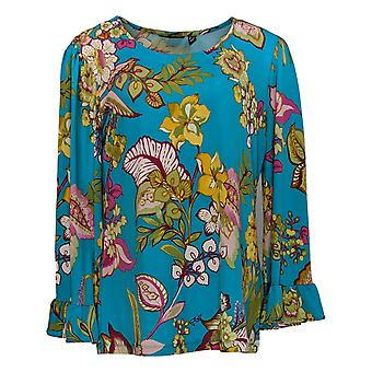 Vrouwen met Control Women's Top Printed Top w/ Ruffle Sleeves Blue A306475