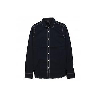 Emporio Armani Cotton Long Sleeve Navy Shirt