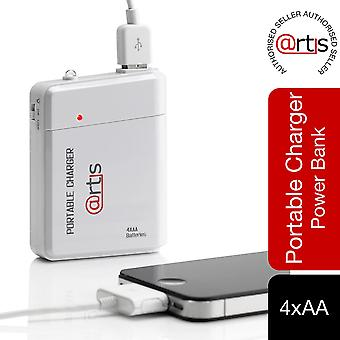 Artis Portable 4xAA Battery Charger for Smart phone, White