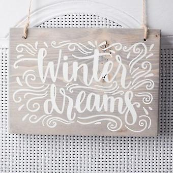 Winter Dreams - Hanging Wood Sign