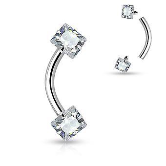 Wenkbrauw ring gebogen barbell intern schroefdraad vierkante reeks cz gem 16g