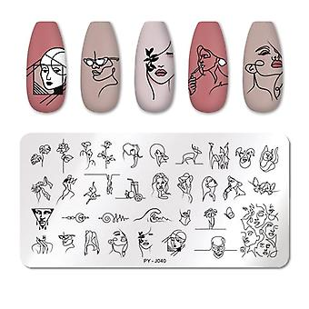 Line Pictures Stencil Stainless Steel Nail Design voor het afdrukken van nagelkunst