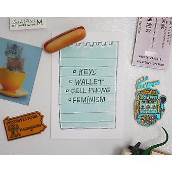 Keys, Wallet, Cell Phone, Feminism Postcard Print