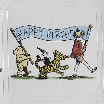 Winnie the Pooh Bear 'Happy Birthday' Themed Sticker Sheet - 35 square stickers