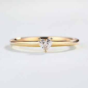 Minimalist Sweet Heart Shape Zircon Thin Finger Proposal Party Fashion Jewelry
